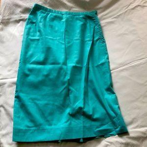 Vintage Lined Blue Pencil Skirt
